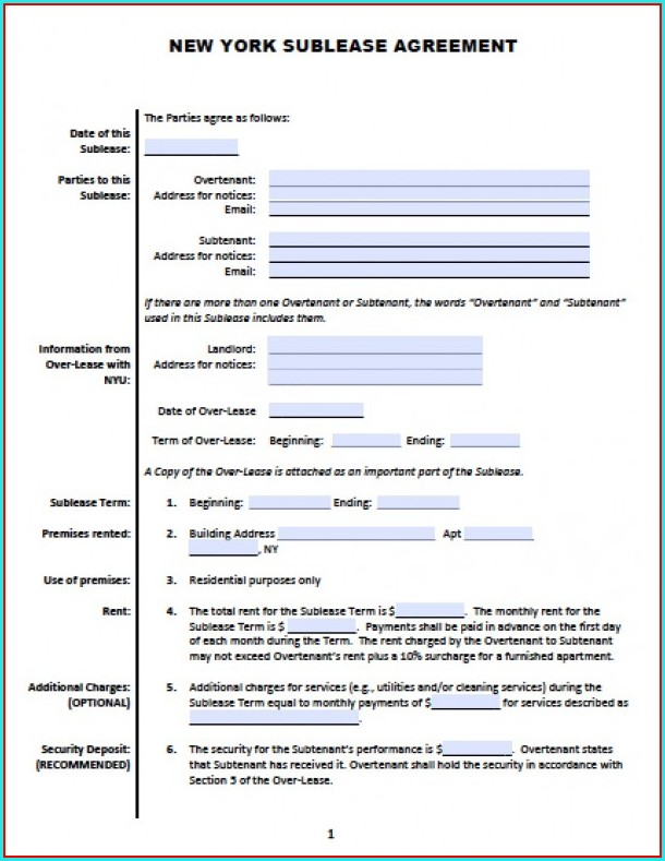 Sublease Agreement Template Nyc