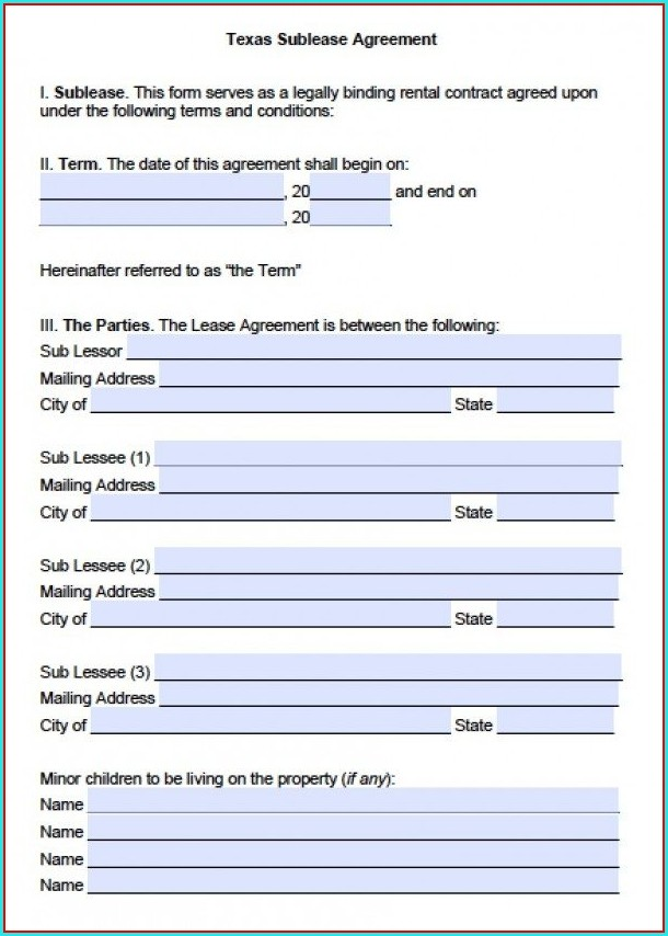 Sublease Agreement Template Texas