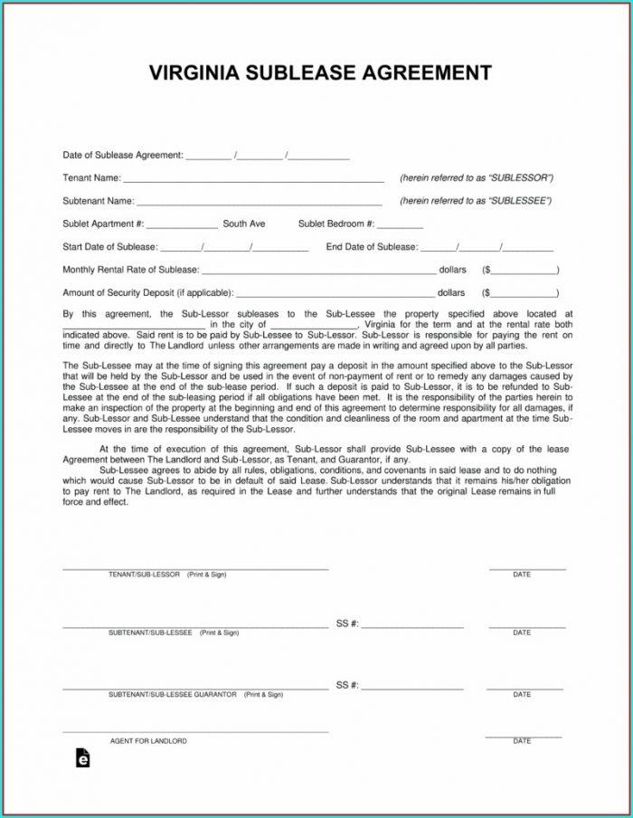 Sublease Agreement Template Virginia