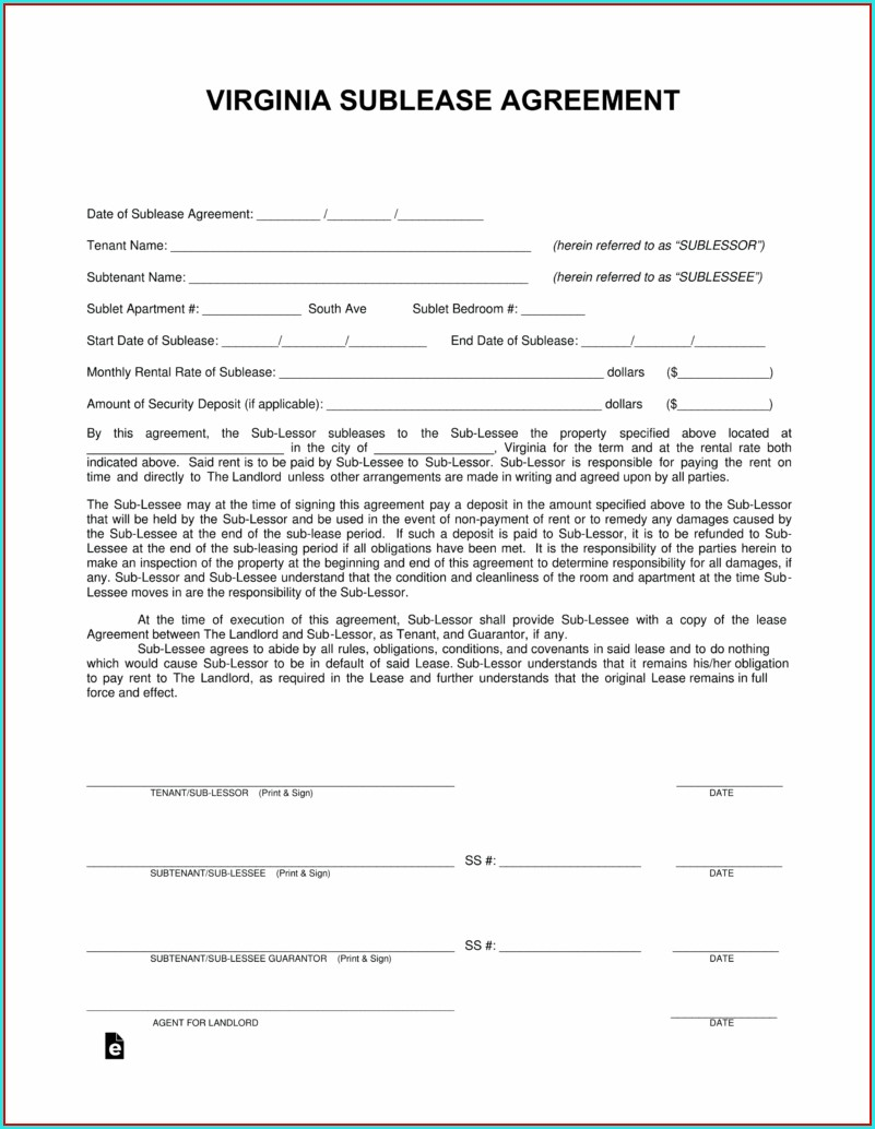 Sublease Agreement Template Virginia