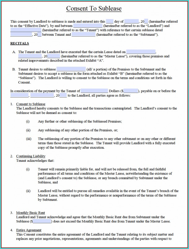 Tenant Sublease Agreement Template