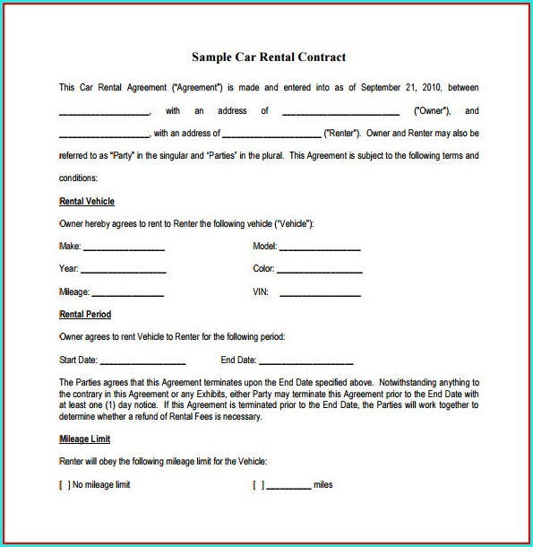 Vehicle Sublease Agreement Template