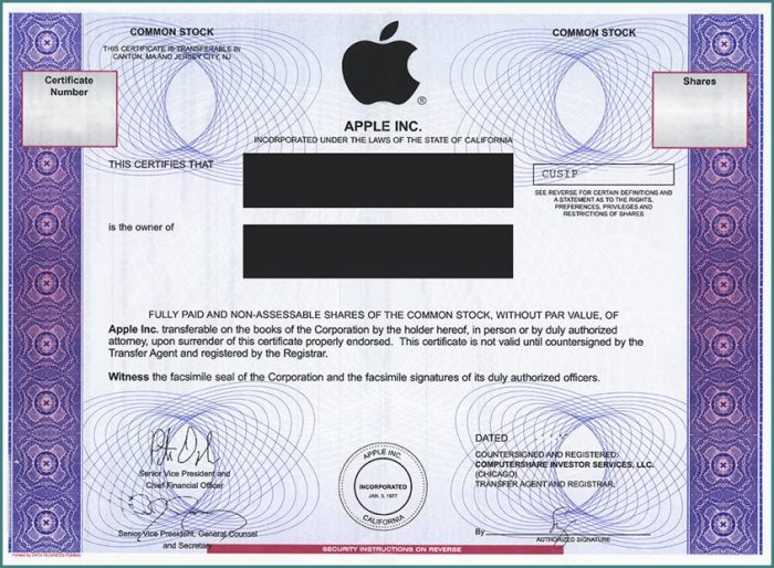 Apple Stock Certificate Template