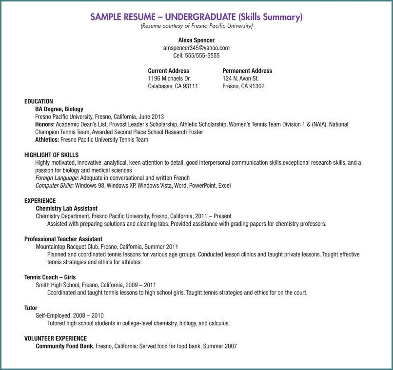 Blank Resume Template For College Students