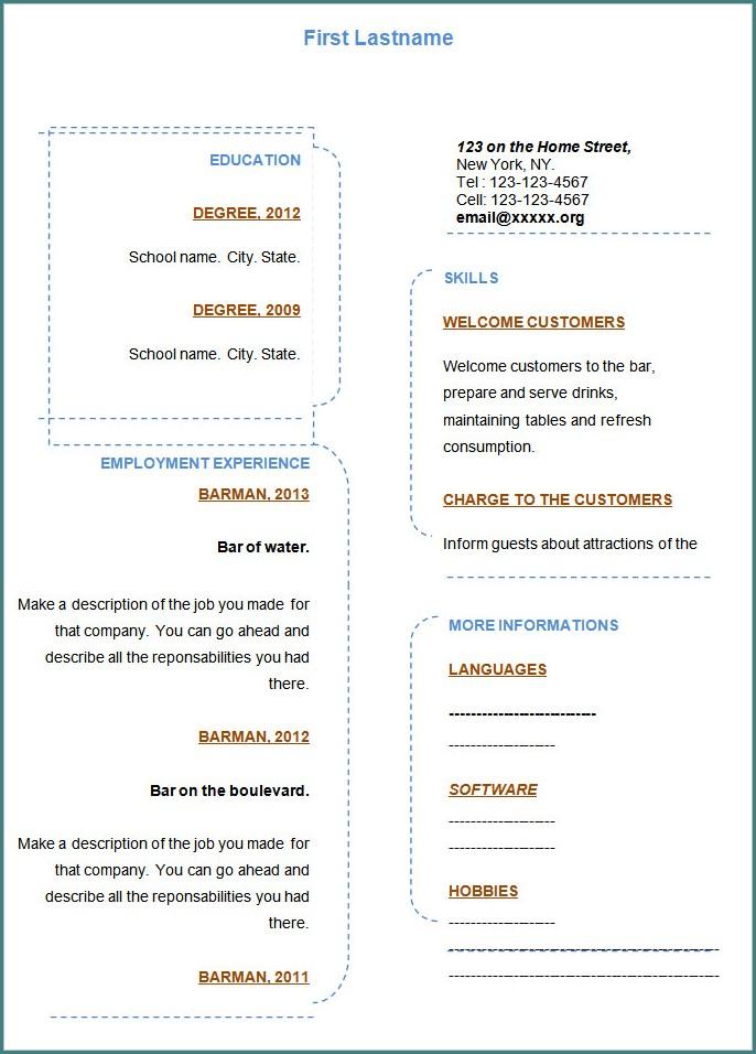 Blank Resume Template In Word