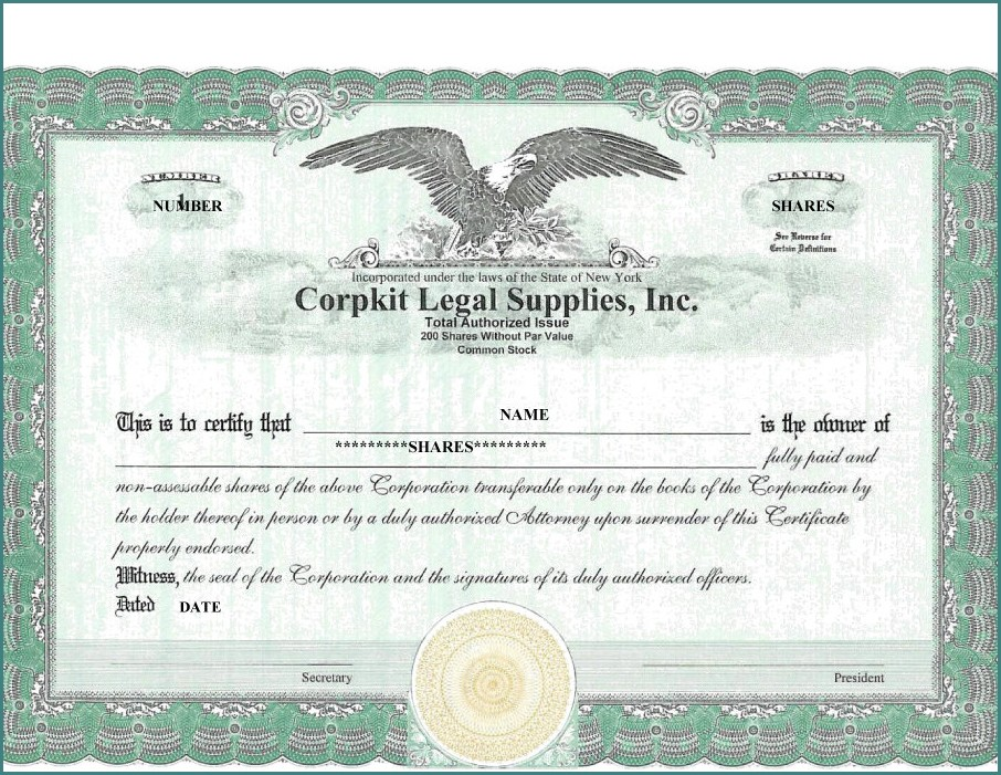 Blank Stock Certificate Template