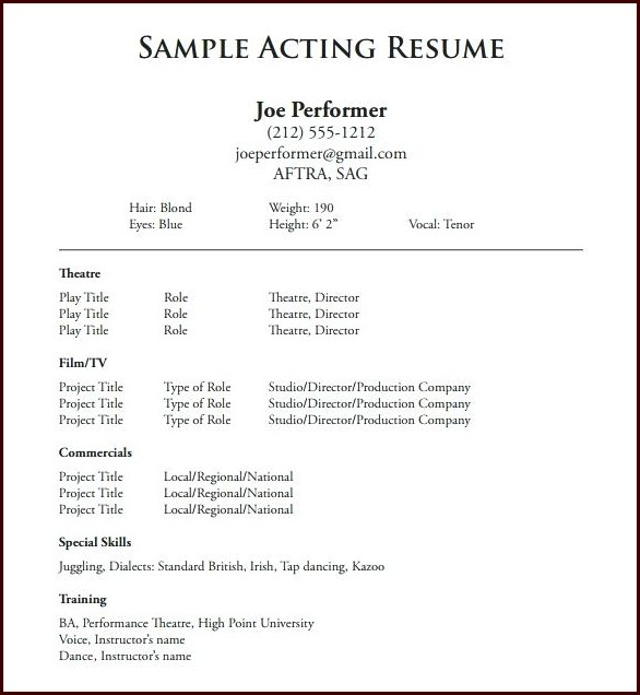 Free Acting Resume Template Word