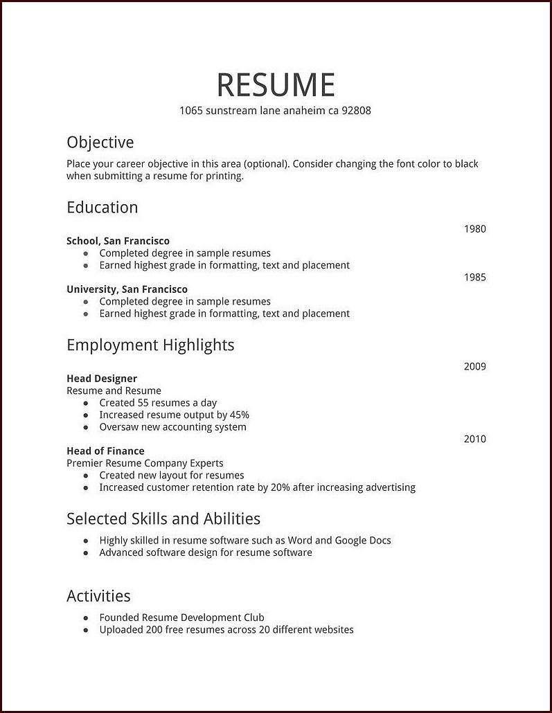 Free Resume Templates Word 2007