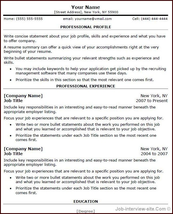 Free Resume Templates Word For Experienced Professionals