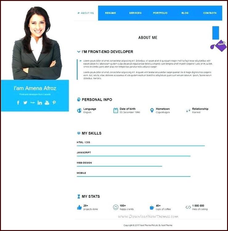 Free Resume Templates Wordpress Templates-1 : Resume Examples