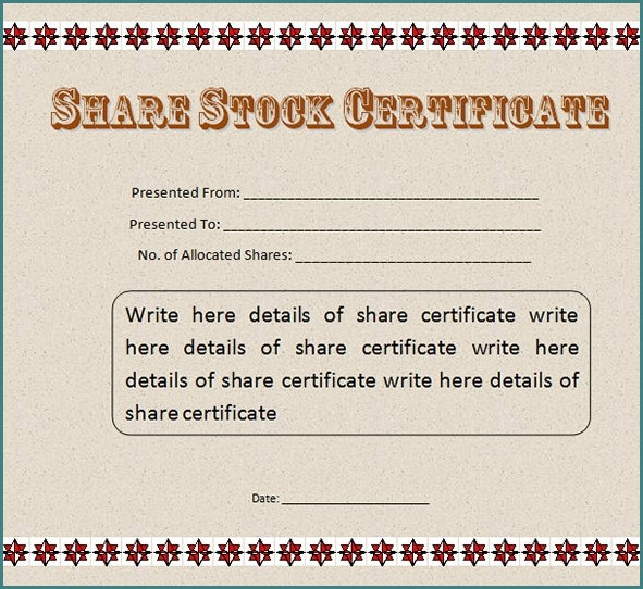 Stock Certificate Template Word Templates 1 Resume Examples