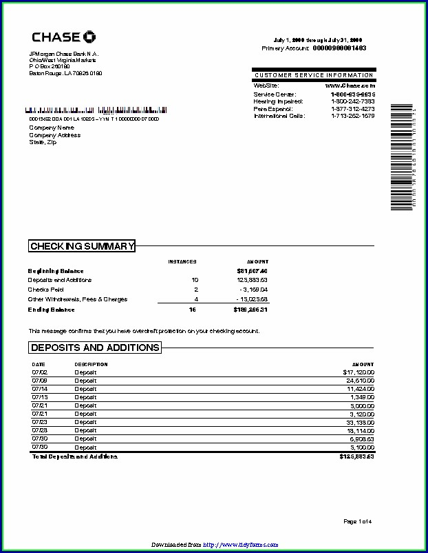 30 Day Bank Statement Template