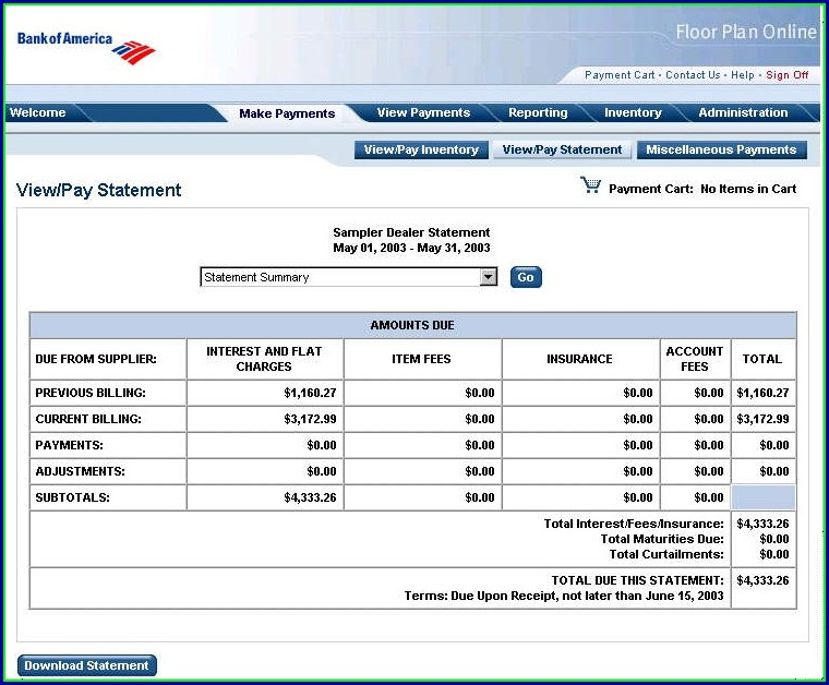 Bank Of America Statement Template Download