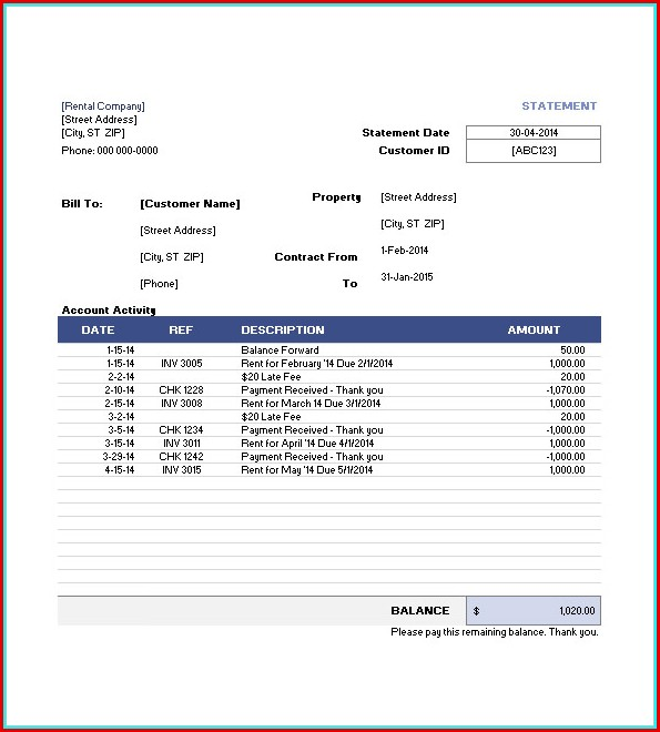 Free Invoice Template For Rental Property