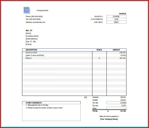 Free Invoice Templates Download
