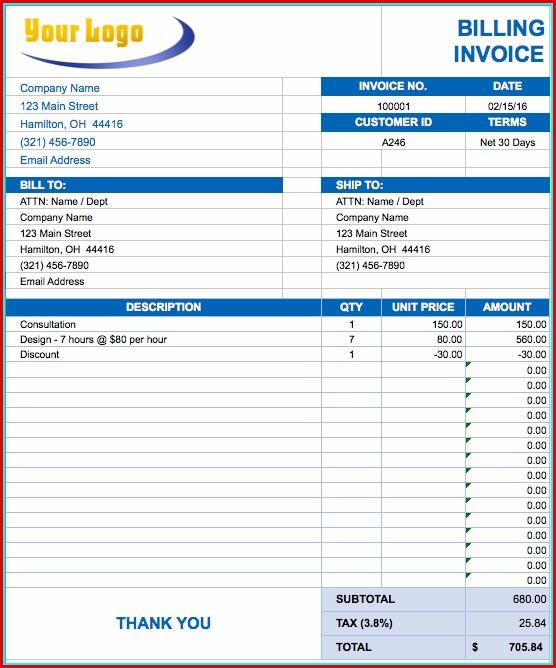 Free Invoice Templates Excel