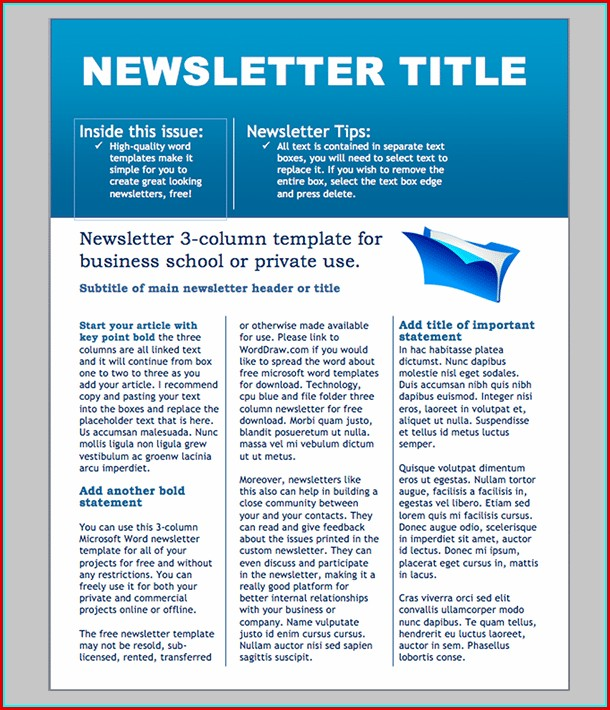 Free Printable Newsletter Templates For Microsoft Word