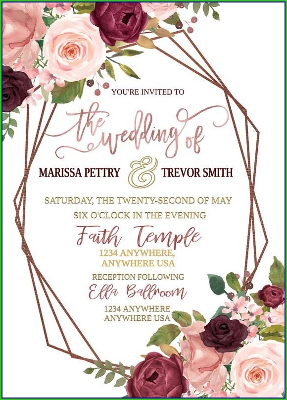Background Rose Gold Invitation Template