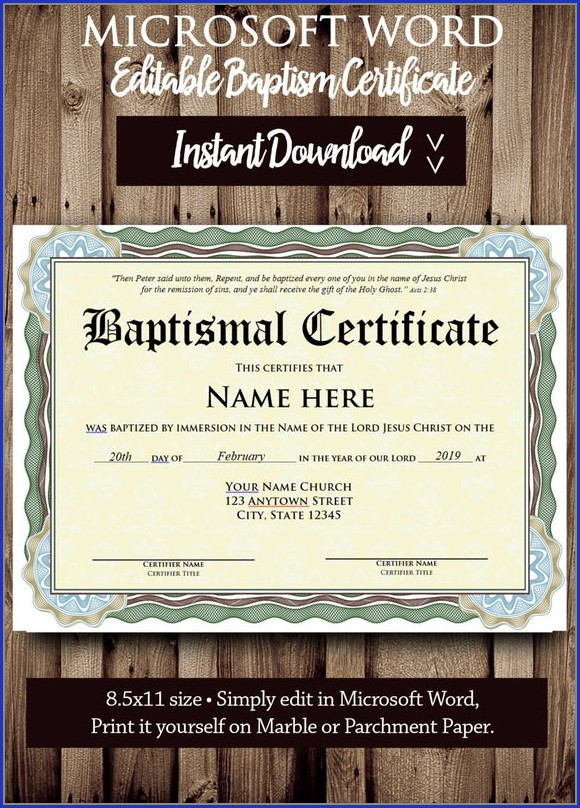 Baptism Certificate Template Word