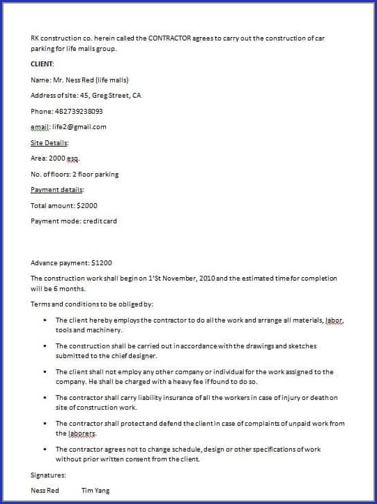 Builder Contract Template