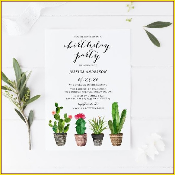Cactus Birthday Invitation Template