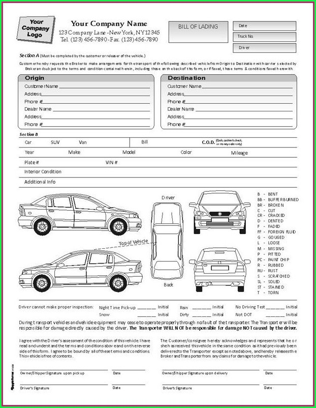 Car Rental Checklist Form Template