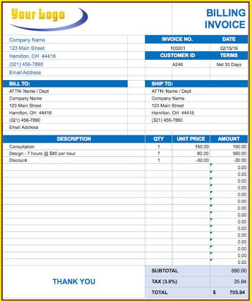 Cash Invoice Template Excel