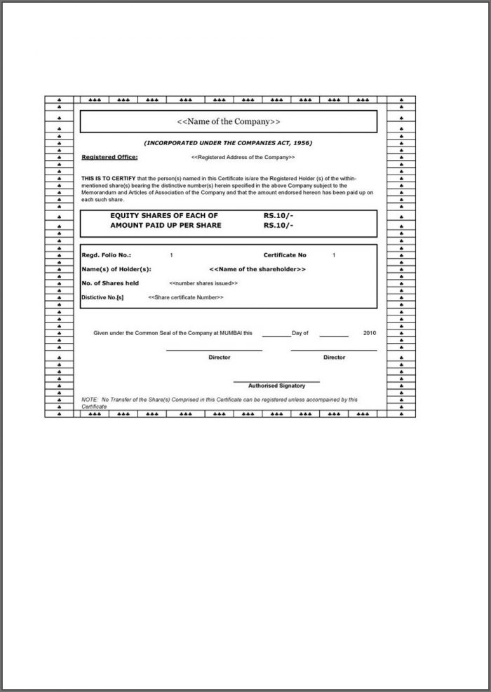 Company Share Certificate Template Uk