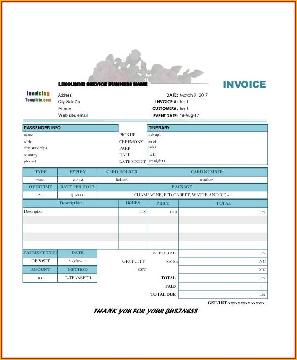 Deposit Invoice Template
