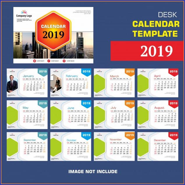 Desk Calendar Template 2019
