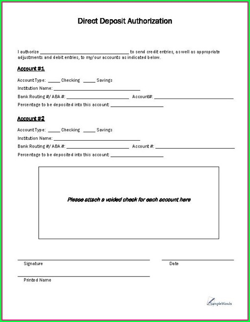 Direct Debit Authorization Form Template