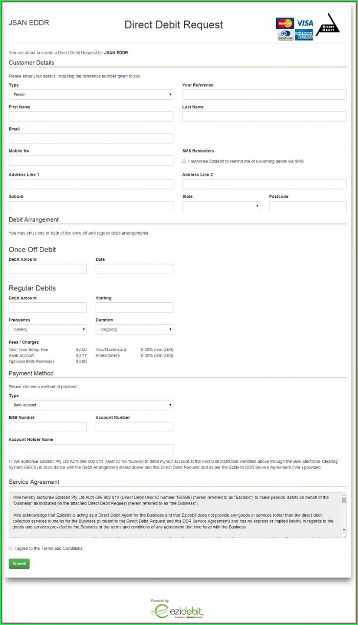 Direct Debit Request Form Template