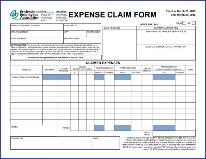 Expense Form Template For Small Business Uk