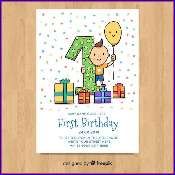 First Birthday Card Template Free