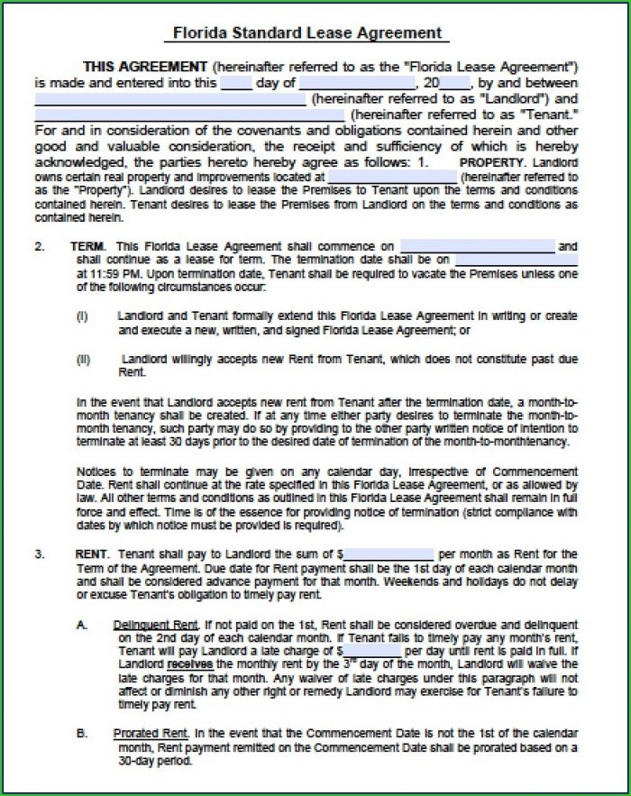 Florida Lease Agreement Template