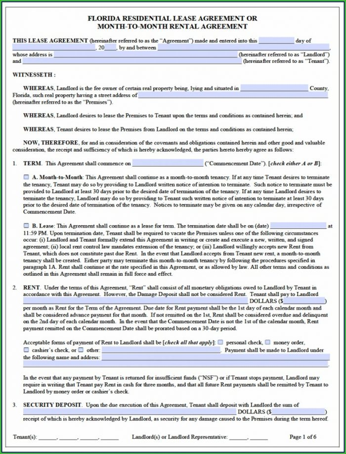 Florida Lease Agreement Template Pdf