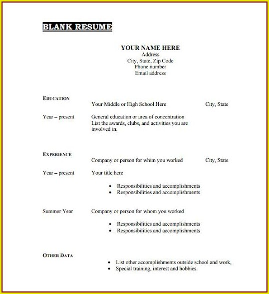 Free Blank Resume Templates