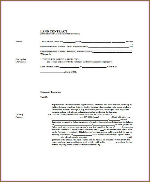 Free Land Contract Template