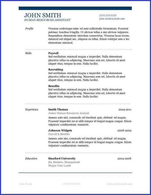 Free Microsoft Resume Templates Downloads