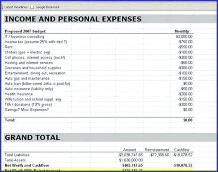 Income And Expense Template For Small Business