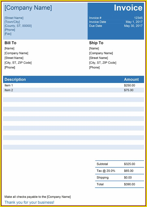 Invoice Template Docx Free Download