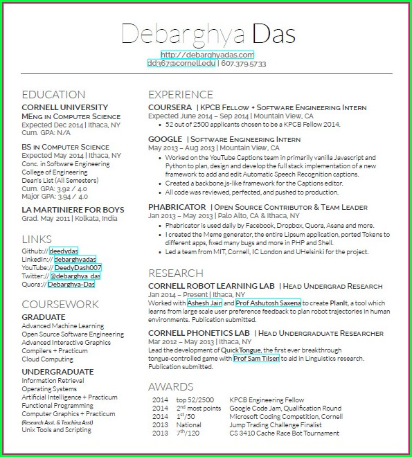 Latex Resume Template Software Engineer