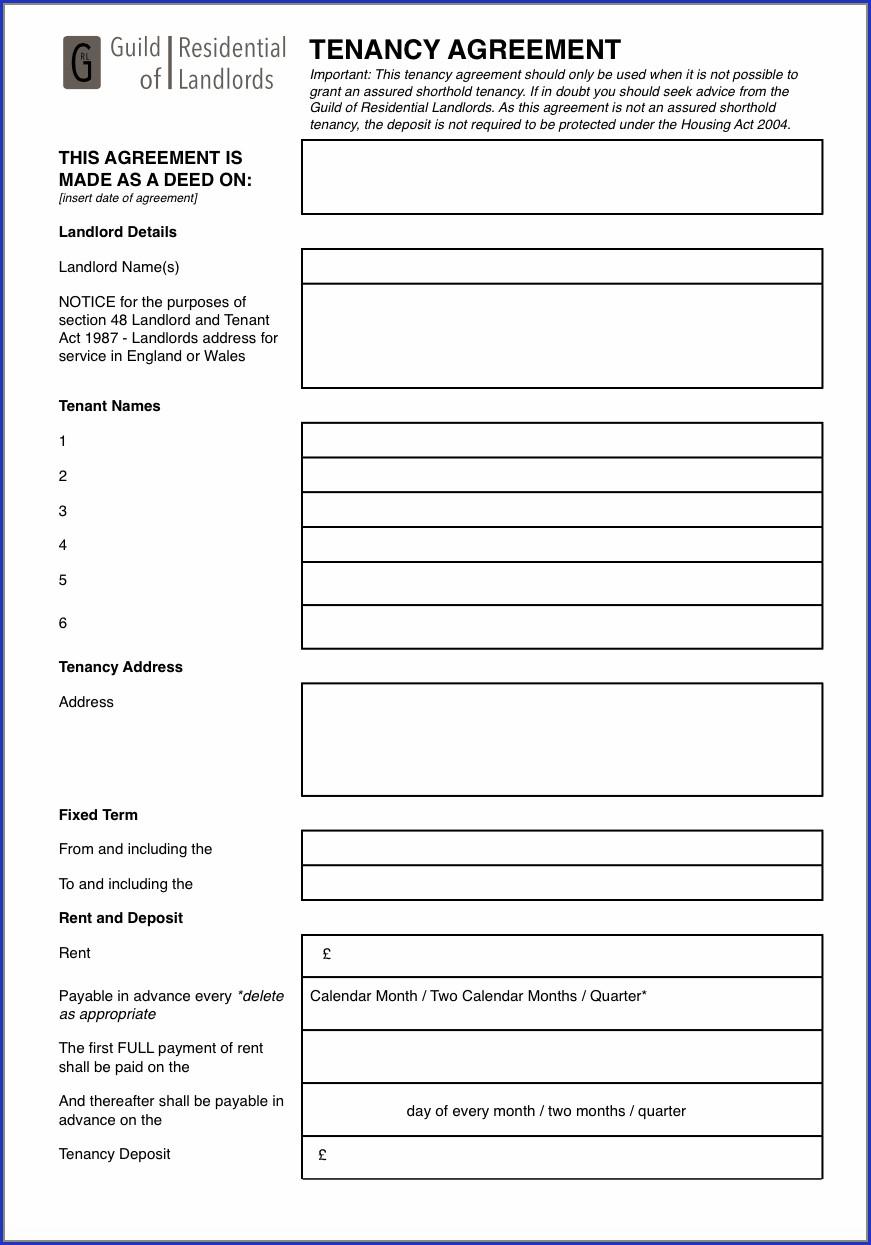 Lodger Agreement Template Pdf