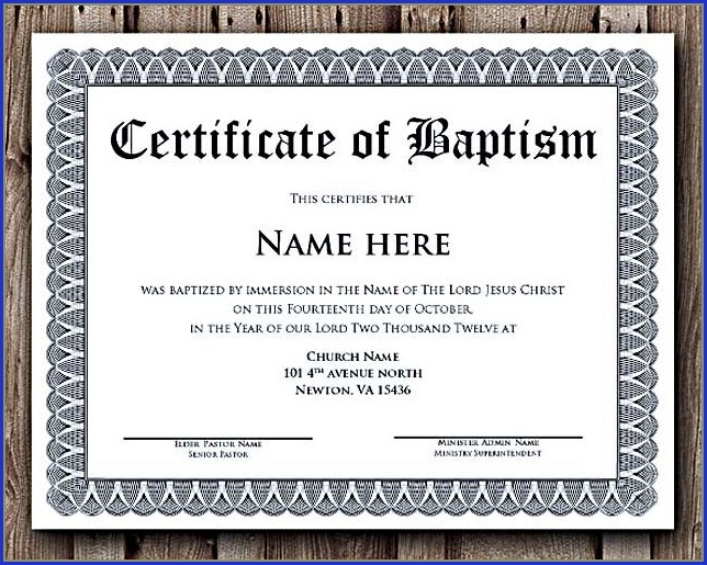 Microsoft Word Baptism Certificate Template