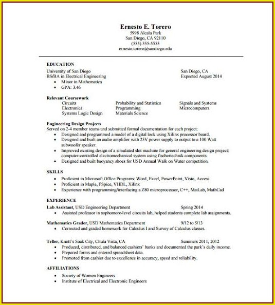 One Page Resume Template Word Free For Freshers