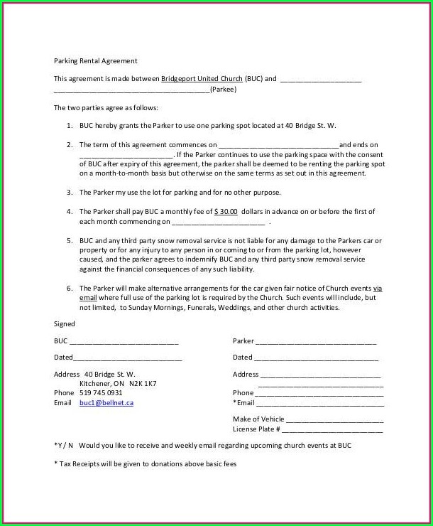 Parking Space Lease Agreement Template