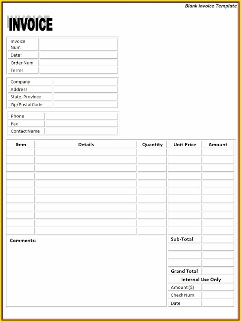 Printable Blank Invoice Template Free