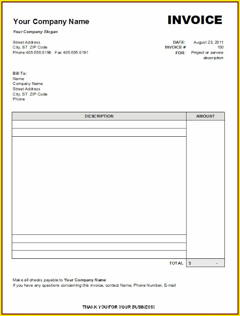 Printable Blank Invoice Template Word