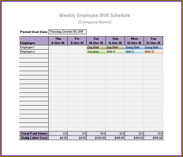 Printable Employee Schedule Template Excel