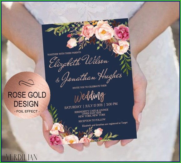Printable Rose Gold Invitation Template